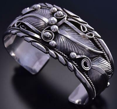 Wide Silver Leaves and Swirls Bracelet by Darrel Morgan 9K07B