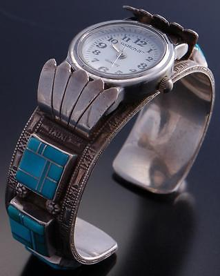 Vintage Silver Turquoise Navajo Square Inlay Watch Bracelet by B 7D21Z