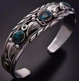 Silver & Turquoise Three Stone Feathers Navajo Bracelet by Davey Morgan ZC03N