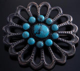 Silver Turquoise Sandcast Open Navajo Brooch by Albert J Brown 7C10P