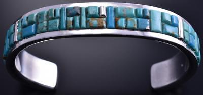 Silver & Turquoise Navajo Inlay Men's Bracelet by Wilson Dawes 8D04P