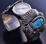 Vintage Silver & Turquoise Navajo Feathers Men's Watch Bracelet by JVB 9A17Z