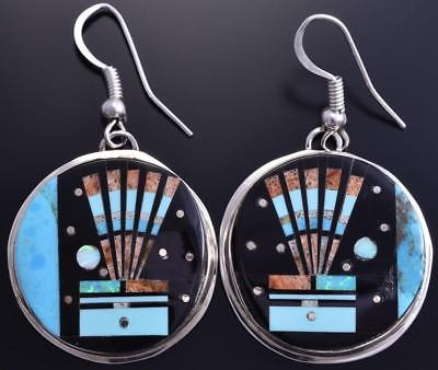Silver & Jet Multistone Navajo Inlay Yei Bi Chei Earrings by Gilbert Smith 8G09V