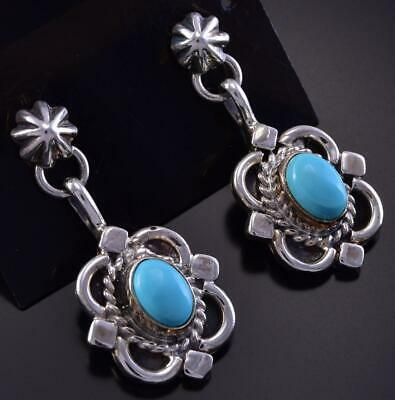 Silver & Sleeping Beauty Turquoise Navajo Earrings by Sharon McCarthy ZK25Y