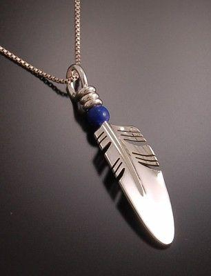 Silver Feather with LAPIS Bead Pendant by Ray Tracey - SMALL PD1R