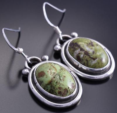 Silver Gaspeite Round Navajo Design Earrings by Erick Begay 8C06R