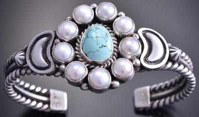 Silver #8 Spiderweb Turquoise Fresh Pearl Cluster Bracelet by Erick Begay 8F25F