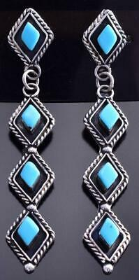 Silver & Turquoise Zuni Petty Point Long Earrings by Priscilla Chavez 9B26M
