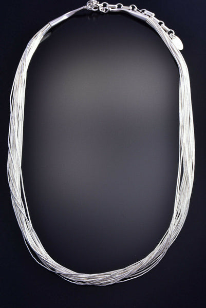 15 strand x 18 inch Liquid Silver Necklace 9J15P