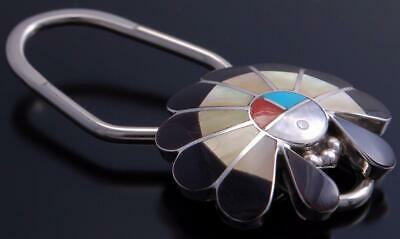 Silver Multistone Zuni Inlay Sunface Headdress Key Ring by Denise Siutza 9J03C