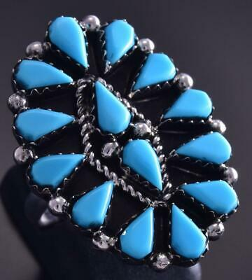 Size 5-3/4 Silver & Turquoise Zuni Cluster Ring by Veronica Martza ZG17E