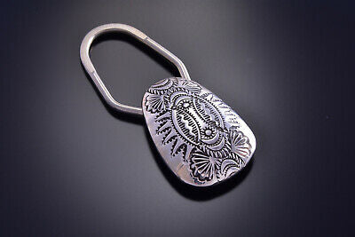 Silver Handmade Stamped Key Fob Holder by Shirley Skeets - 9J14A