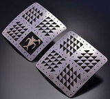 Vintage Geometric Design Silver & Gold Earrings by Roland Brady 9D04S
