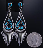 Silver Multistone Zuni Inlay Two Dangle Pendant Earrings by Laahty 7H02K