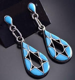 Sleeping Beauty Turquoise Inlay Earrings by Emma Bowekaty 9J17N