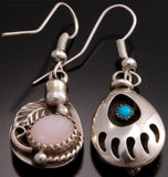 Turquoise Pink Mussel Shell Silver REVERSIBLE Earrings by Gary Henry - GA81A