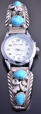 Vintage Silver Turquoise & Feathers Navajo Women's Watch by VV 8A08N