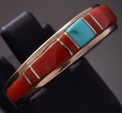 Size 6 14k Gold & Turquoise & Coral Navajo Inlay Ring by Erick Begay ZD07C