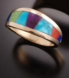 ZBM Navajo Women's 14K Gold and Multi-Stone Inlay Wedding Band 10016391