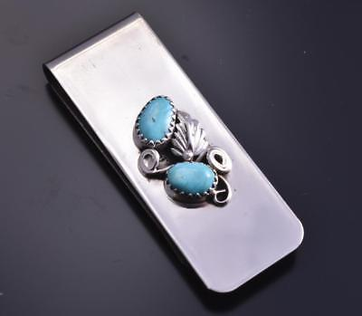 Navajo Turquoise & Feather Money Clip by Sally Arvison 7L15B