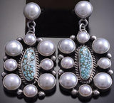 Silver & #8 Spiderweb Turquoise & Fresh Water Pearl Earrings Erick Begay 8H12M