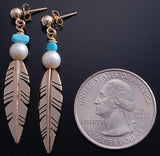 ZBM 14k Gold & Turquoise & Fresh Water Pearl Dangle Earrings by Erick Begay 7C27M
