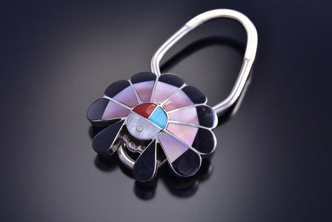 Silver Multistone Zuni Sunface Inlay Key Chain by Denise Siutza - 9J15R
