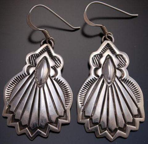 ZBM  All Silver Stamped Fan Earrings by Erick Begay - AJ13L