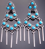 Silver Turquoise Zuni Petty Point 3 Tier Earrings by Iva Booqua 7A06N