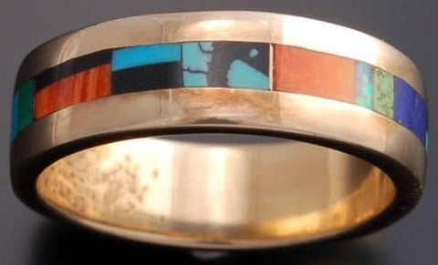 Size 10 - All Around Multistone Inlay 14K Gold Band Ring - VN40G