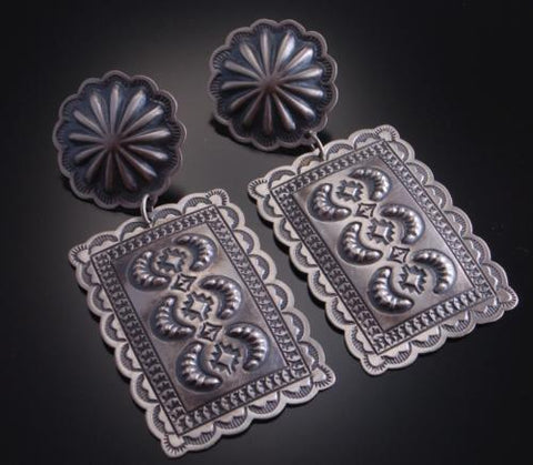 Silver Old Style Stamp Design Concho Earrings by Harris Joe 6L08D