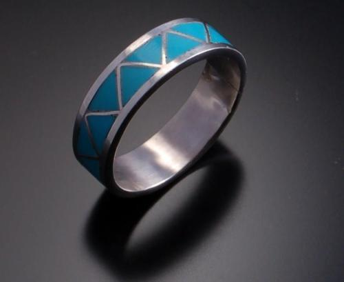 Size 7-3/4 - Lovely All Natural Turquoise Inlay Silver Band - 6K24Q-6