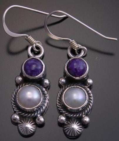 Purple Charoite &  Fresh Water Pearl Earrings by Erick Begay - EF32H
