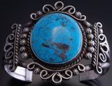 Silver Matte Kingman Turquoise Bracelet Cuff by Allison Johnson- UA40Z