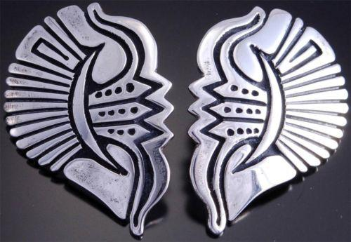 Stephen Begay Silver Traditional Contemporary Navajo Half-Heart Earrings - VN70O