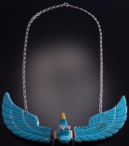 "18"" Silver Etched Turquoise Large 3 Piece Eagle Necklace by BL 6L05P"