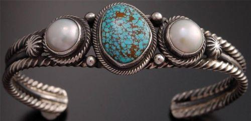 ZBM # 8 Spiderweb Turquoise Pearl Silver Bracelet by Erick Begay - GA40G