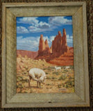 Wood Framed Handpainted Young Sheep Painting by Navajo Johnson Yazzie NJ02X