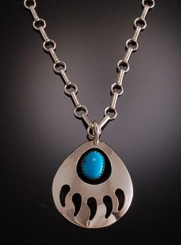 Silver Shadowbox Turquoise Bear paw Pendant by Virginia John               PS71C