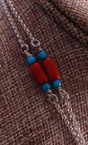 "48"" Silver Coral Turquoise Long Chain by Erick Begay NJ12S"