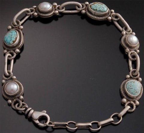 ZBM # 8 Spiderweb Turquoise Pearl Silver Link Bracelet by Erick Begay - YJ92O
