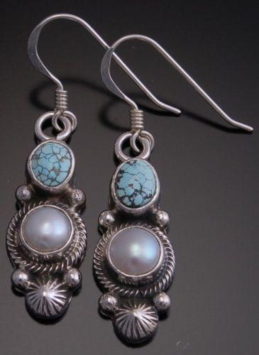 ZBM No. 8 Spiderweb Turquoise and Pearl Earrings by Erick Begay - EF32G