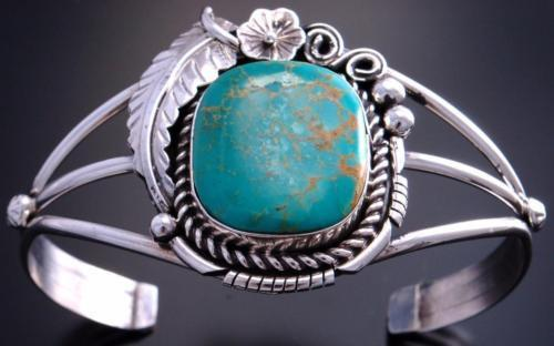 Silver Round Turquoise Feather Flower Open Bracelet by Alice Johnson 7A27K