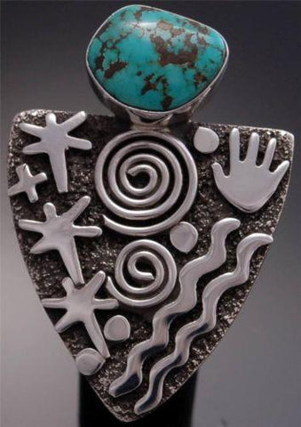 Size 8-1/2 - Silver Navajo Petroglyph Turquoise Ring by Alex Sanchez - VN82P