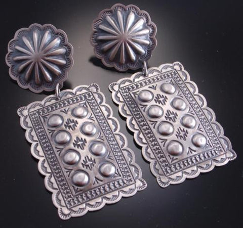 Silver Old Style Stamp Design Concho Earrings by Harris Joe 6L08F