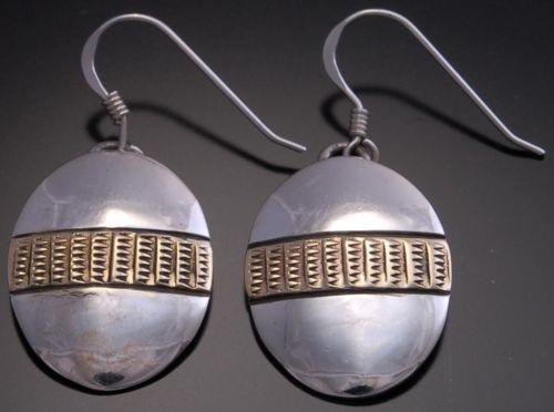 14k Gold & Silver Stamped  Earrings by Erick Begay - AJ13R