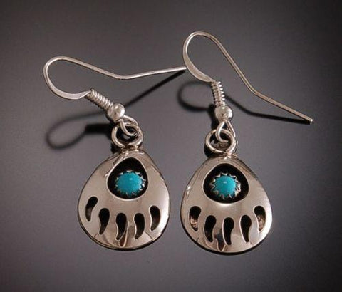 Classic Shadow Box Turquoise and Silver Bear paw Earrings  TO22C