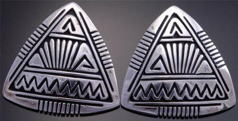 Stephen Begay Silver Triangle shaped Earrings Contemporary Navajo Design VN70W