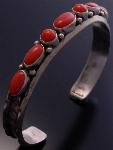 Silver Coral Row Bracelet by Betta Lee - Navajo Handmade                   NJ40R