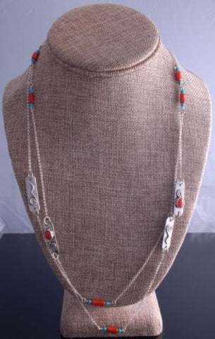 "ZBM 48"" Silver Coral Turquoise Long Chain by Erick Begay NJ12S"